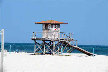 Lifeguard stand at Crandon Beach