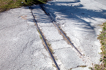 Crandon Park Zoo Railroad Tracks in the pavement at                 Crandon Park Beach