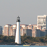 Key Biscayne's Cape Florida Lighthouse with residential Key Biscayne on Cape Florida border
