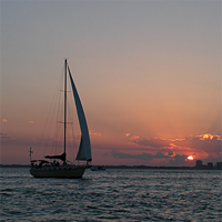 Sailing a Key Biscayne sunset over Biscayne Bay